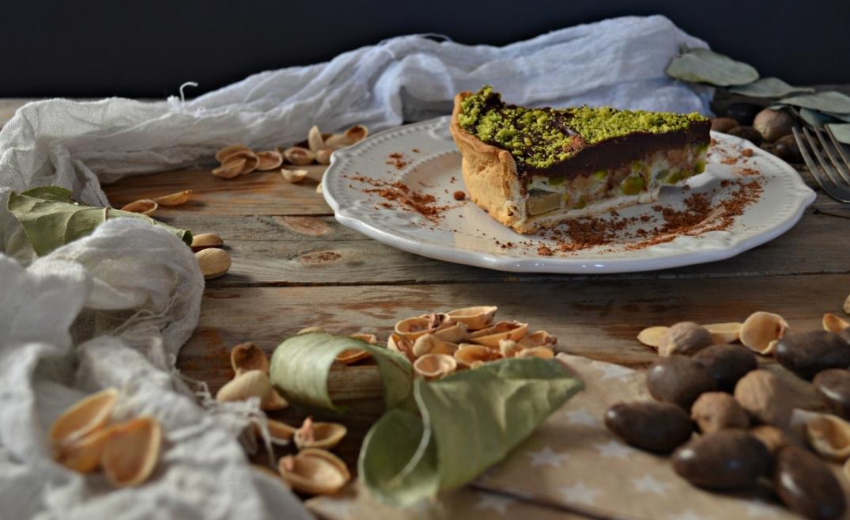 Tarta de manzana, pistacho y chocolate