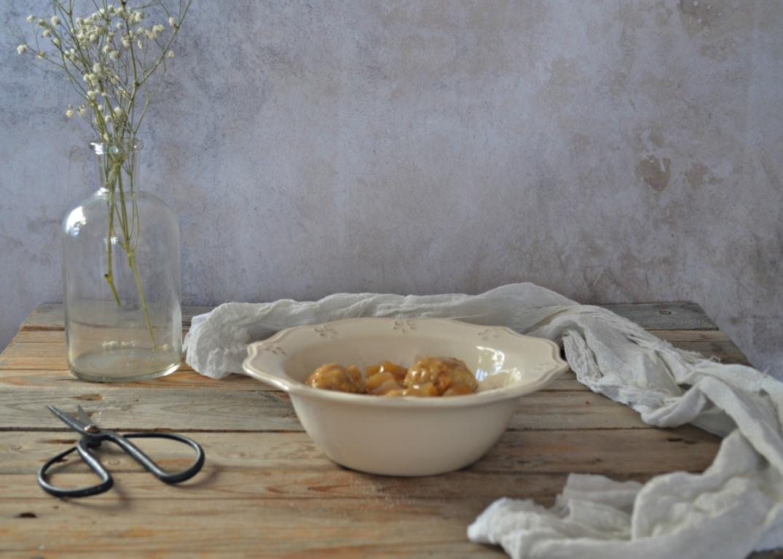 Albóndigas de pollo con piña y soja
