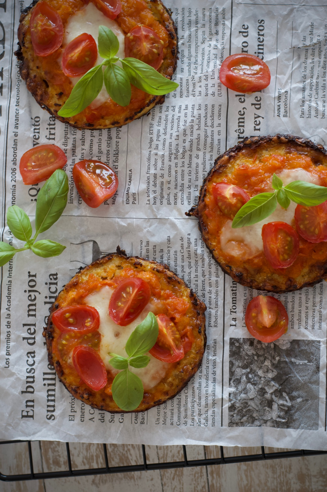 Minipizzas de coliflor, que te harán saltar de alegría.